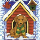 Lab Puppy Snowed Inn Winter Christmas Large Flag
