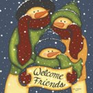 CHRISTMAS SNOWMAN WELCOME FRIENDS LARGE FLAG