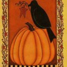 Primitive Crow on Pumpkin Large Autumn Fall Halloween Flag