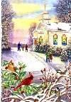 Sleigh Ride Church Winter Christmas Large Flag