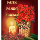Faith Family Friends Poinsetta Basket Winter Christmas Large Flag