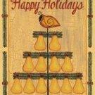 Happy Holiday Feather Tree Partridge Garden Mini Flag