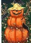 Scarecrow JOL Pumpkin Halloween Large Flag