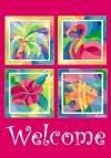 Tropical Welcome Garden Mini Flag