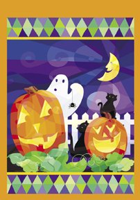 Pumpkin Ghost Halloween Garden Mini Flag