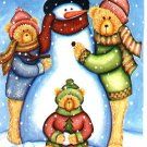 Snowman Bears Winter Christmas Winter Large Flag