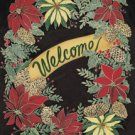 Welcome Winter Holiday Wreath Garden Mini Flag