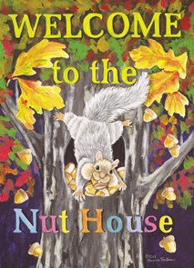 Welcome to the Nut House Garden Mini Flag