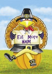 Eat More Ham Turkey Thanksgiving Garden Mini Flag