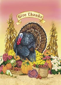 Give Thanks Turkey Thanksgiving Flag