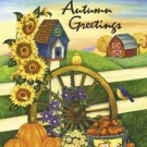 Autumn Greetings Barn Wagon Wheel Garden Mini Flag