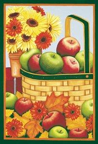 Apples Basket Flowers Autumn Fall Garden Mini Flag