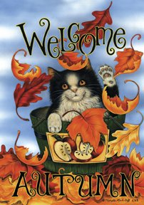 Welcome Autumn Cat Large Flag