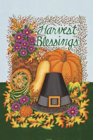 Harvest Blessing Pilgrim Thanksgiving Large Flag