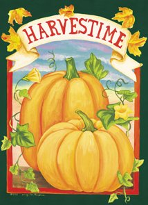 Harvest Time Pumpkin Fall Large Flag