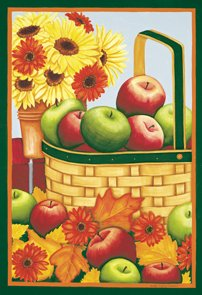 Apples Basket Flowers Autumn Fall Large Flag