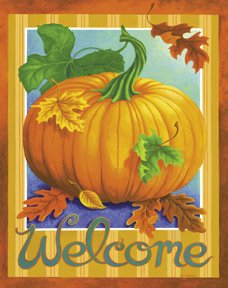 Welcome Pumpkin Large Flag