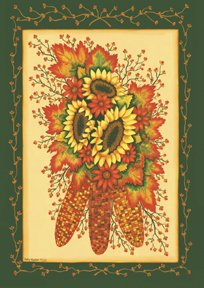 Indian Corn Sunflower Fall Large Flag