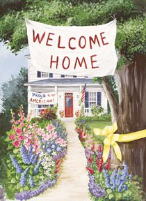 Welcome Home Proud American Garden Mini Flag