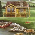 Rustic Cabin Welcome Deer Large Flag