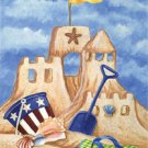 Sandcastle Beach Summer Large Flag