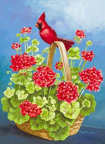 Cardinal Geraniums Basket Summer Large Flag