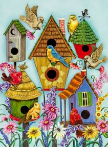 Folk Birdhouse Butterfly Summer Garden Mini Flag