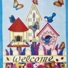 Birdhouse Butterfly Summer Garden Mini Flag