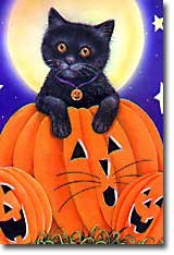 Black Cat Pumpkin Large Halloween Flag