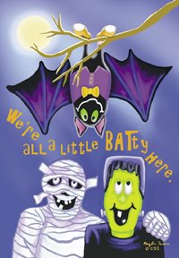 Halloween We're All A Little Batty Here Garden Mini Flag