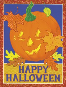 Happy Halloween JOL Pumpkin Large Flag