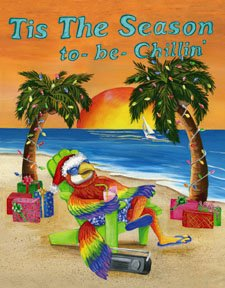 Tis the Season to be Chillin Parrot Jimmy Buffet Garden Mini Flag