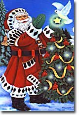 Santa Tree Dove Christmas Winter Garden Mini Flag