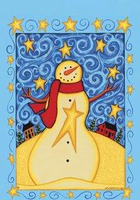 Starry Nights Saltbox Snowman Winter Christmas Garden Mini Flag