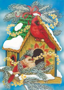 Cardinal Wreath Winter Christmas Garden Mini Flag