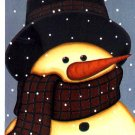 Folk Snowman Winter Christmas Large Flag