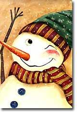 Primitive Snowman Winking Winter Christmas Large Flag