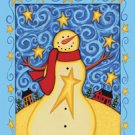 Starry Nights Saltbox Snowman Winter Christmas Large Flag