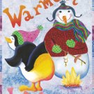 Warmest Wishes Penguin Winter Christmas Large Flag