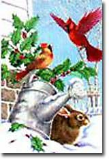 Cardinal Wreath Winter Christmas Large Flag