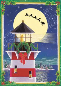 Santa Nautical Ocean Lighthouse Christmas Large Flag