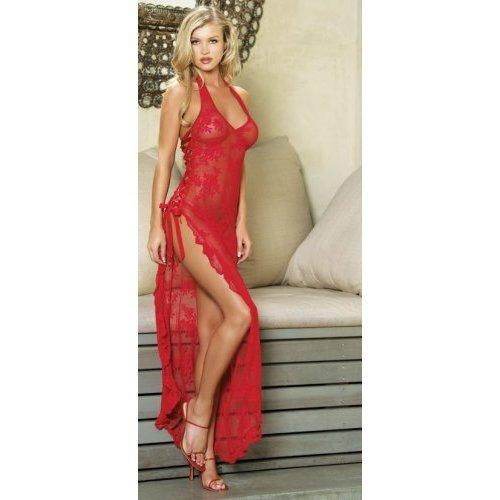Leg Ave BLACK 2pc Spanish Rose Lace Long Dress w/G-string