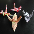 4 X ASSORTED HANDMADE ORIGAMI CRANE