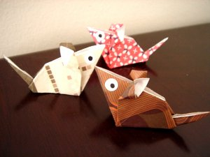 4 X ASSORTED HANDMADE ORIGAMI MOUSE
