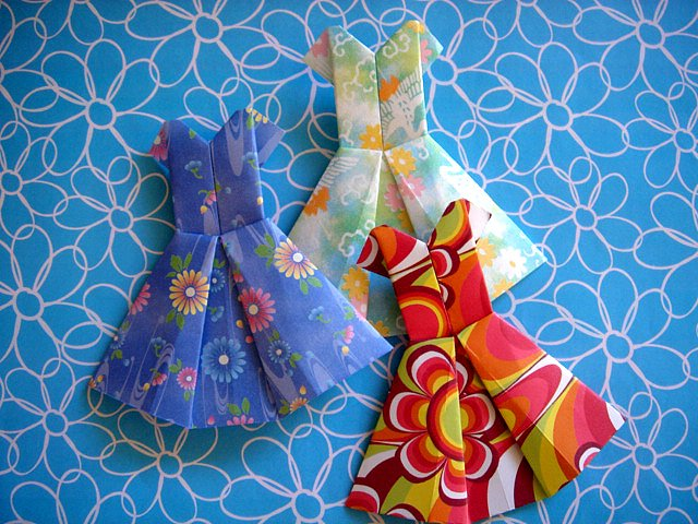 4 X ASSORTED HANDMADE ORIGAMI PARTY DRESS