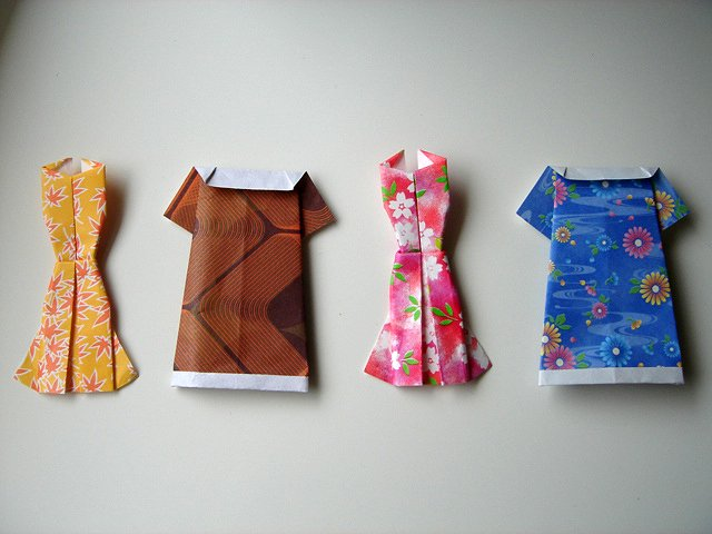 4 X ASSORTED HANDMADE ORIGAMI DRESSES