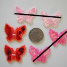 10 X SEQUINS AND BEADS BUTTERFLY - RED