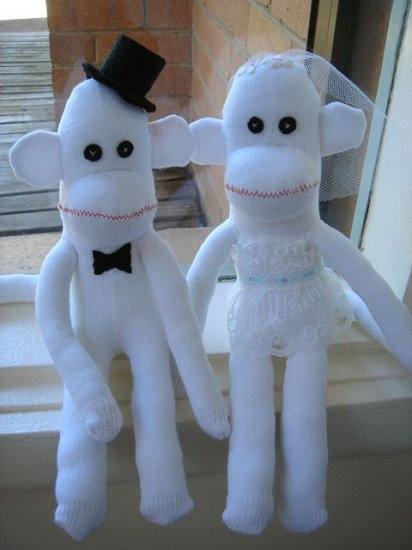 SET of 2 - BRIDE & GROOM WEDDING SOCK MONKEY