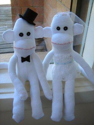 SET of 2 - BRIDE & GROOM WEDDING SOCK MONKEY
