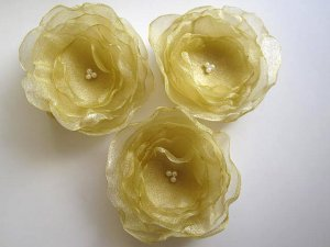 3 X HANDMADE SHIMMERING ORGANZA FLOWERS - gold